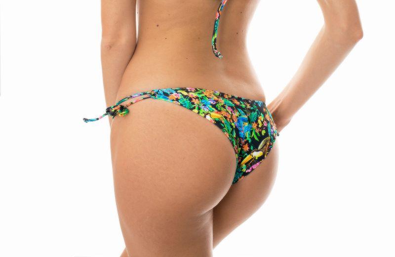 Brazilian tie-side bikini bottoms featuring a black floral print - CALCINHA  REALITY FLOWER BALCONET
