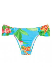 Blue floral Brazilian bathing bottom, wide sides - CALCINHA ALOHA BANDEAU FRANZIDA