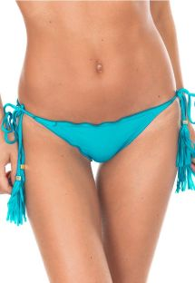 Sky blue scrunch bikini bottom with tassels - CALCINHA AMBRA FRUFRU NANNAI