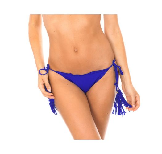 Cueca de biquíni scrunch azul-escuro com pompons - CALCINHA AMBRA FRUFRU PLANETARIO