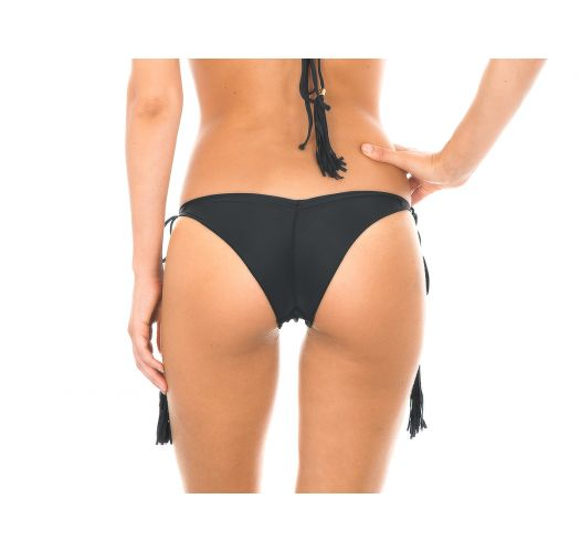 Sorte tanga bikinitrusser med scrunch-effekt og frynsede pomponer - CALCINHA AMBRA FRUFRU PRETO