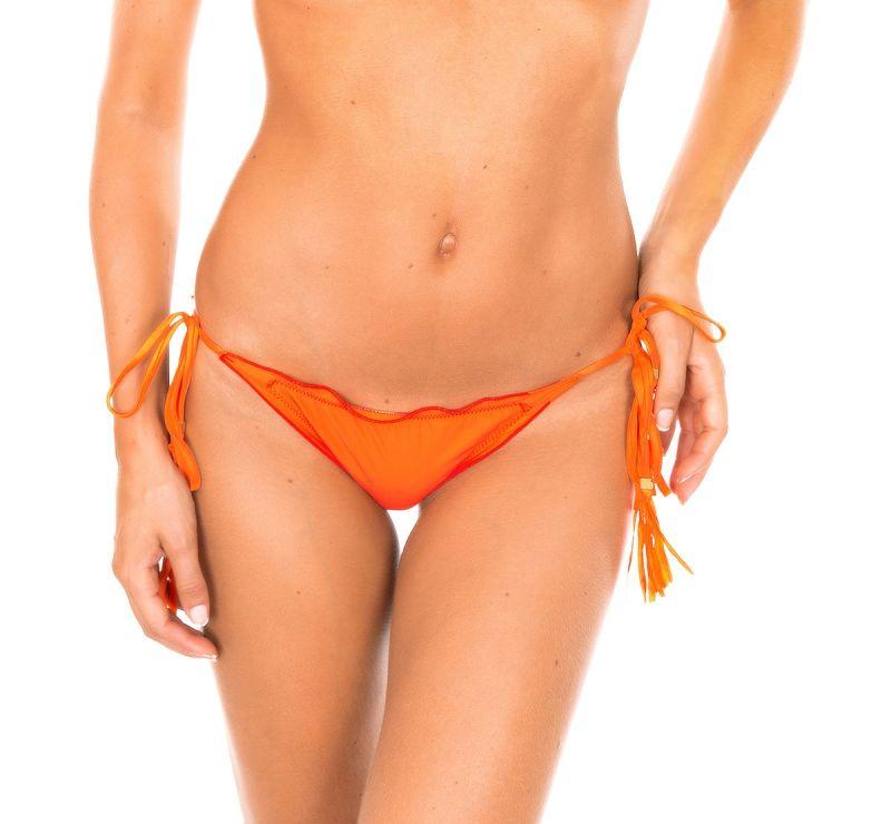 Orange skrynklad bikinitrosa med tofsar - CALCINHA AMBRA FRUFRU SOMBRERO