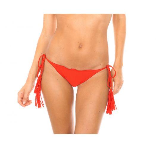 Bade-tanga scrunch, rød med frynsete dusker - CALCINHA AMBRA FRUFRU URUCUM