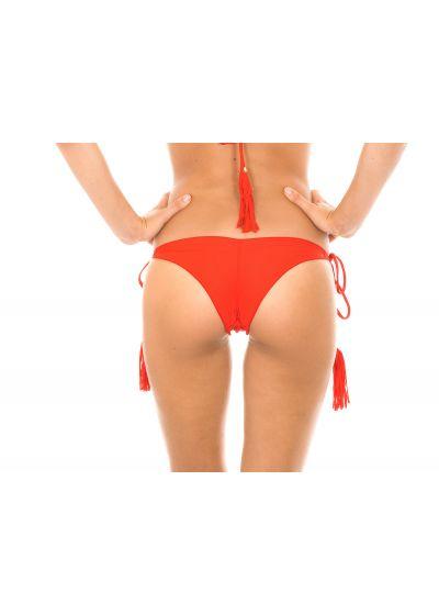 Red scrunch tanga bikini bottom with fringed bubbles - CALCINHA AMBRA FRUFRU URUCUM