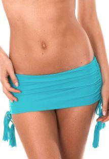 Dół od brazylijskiego bikini, niebieski, imitujący spódniczkę - CALCINHA AMBRA JUPE NANNAI