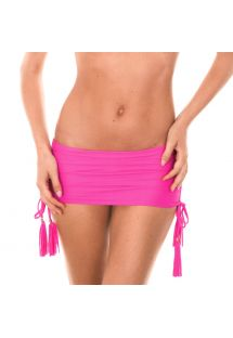 Bas de bikini brésilien rose façon jupette - CALCINHA AMBRA JUPE ROSA CHOQUE