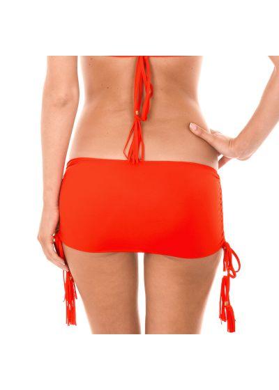 Red skirt-style bikini bottom with tassels - CALCINHA AMBRA JUPE URUCUM
