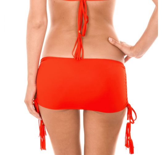 Red skirt-style bikini bottom with tassels - CALCINHA AMBRA JUPE URUCUM