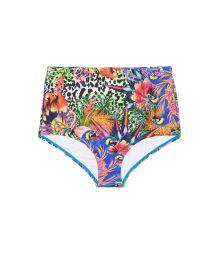 Tropical pattern high-waisted swimsuit bottom - CALCINHA BIGUA TROPICAL