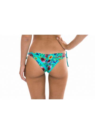 Blue Brazilian bottom with flowers and lurex ties - CALCINHA BLOOM BALCONET