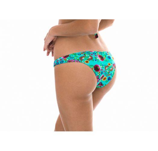 Blue floral print fixed Brazilian bikini bottoms - CALCINHA BLOOM CORTINAO