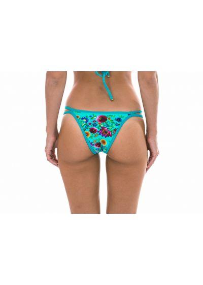 Tanga style blue flower print double string bottom - CALCINHA BLOOM CROPPED