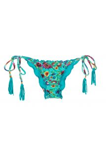 Blue floral bottoms with frilly edges - CALCINHA BLOOM FRUFRU