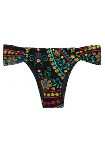 Black swimsuit tanga with flowers and wide sides - CALCINHA BORDADO BALCONET
