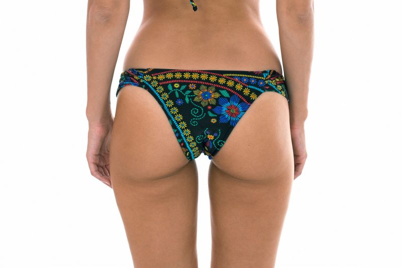 Black swimsuit tanga with flowers and wide sides - CALCINHA BORDADO BALCONET