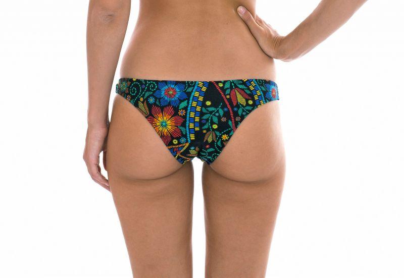 Multicolour printed fixed bathing tanga - CALCINHA BORDADO CORTINAO