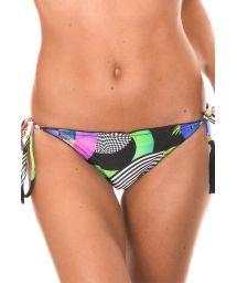 Printed string bikini with pompom accents - CALCINHA BOSSA FRUFRU