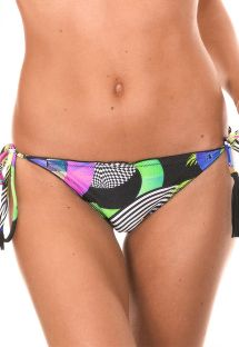 Printed string bikini with pompom accents - CALCINHA BOSSA FRUFRU