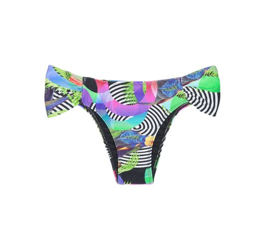 Geometric pattern Brazilian swimsuit bottom with wide sides - CALCINHA BOSSA SHOULDER HIPSTER