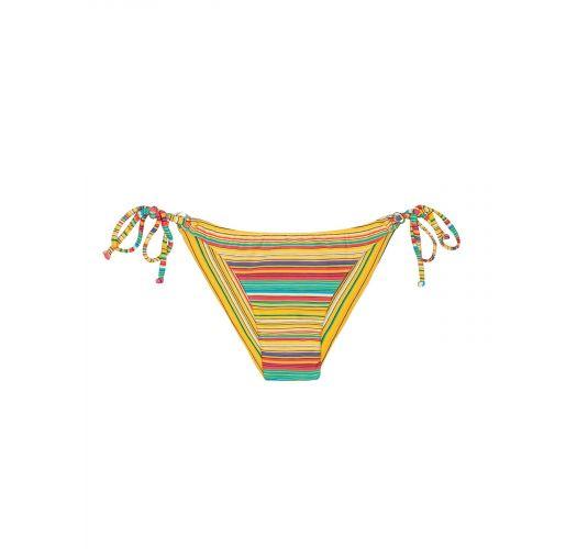 Плавки бикини в бразильском стиле на завязках в жёлтую полоску - CALCINHA CANARINHO CHEEKY