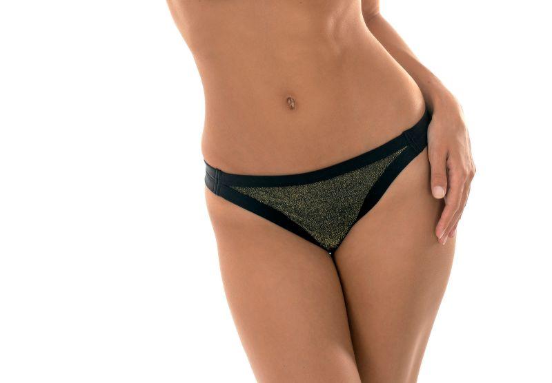 Brazilian strappy bottoms in lurex black contours - CALCINHA CROPPED RADIANTE
