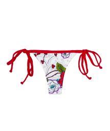White floral swimsuit thong, red ties - CALCINHA DALIA VERMELHA