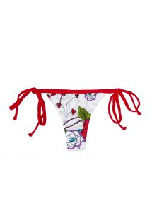 White floral swimsuit thong, red ties - CALCINHA DALIA VERMELHA