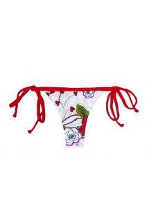 Braguita tanga blanca con flores y tiras rojas - CALCINHA DALIA VERMELHA