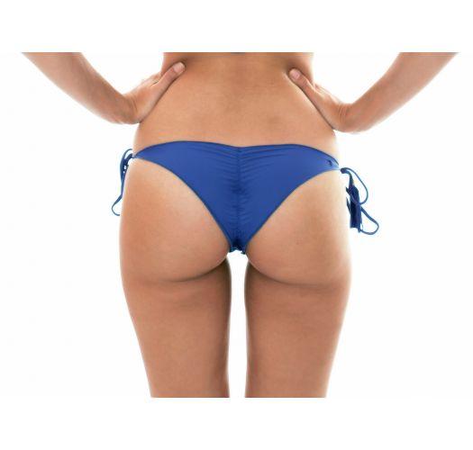 Denim blue ruched bikini briefs with fringed tassels - CALCINHA DENIM FRUFRU