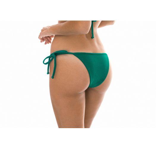 Textured green tie-side thong bottoms - CALCINHA DUNA GREEN DETAIL