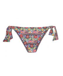 Floral swimsuit tanga with side ties - CALCINHA FOLK FLUTTER CROP