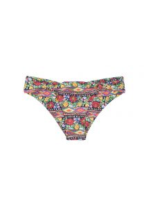 Floral print Brazilian bikini bottoms with fabric rings - CALCINHA FOLK FLUTTER NEW