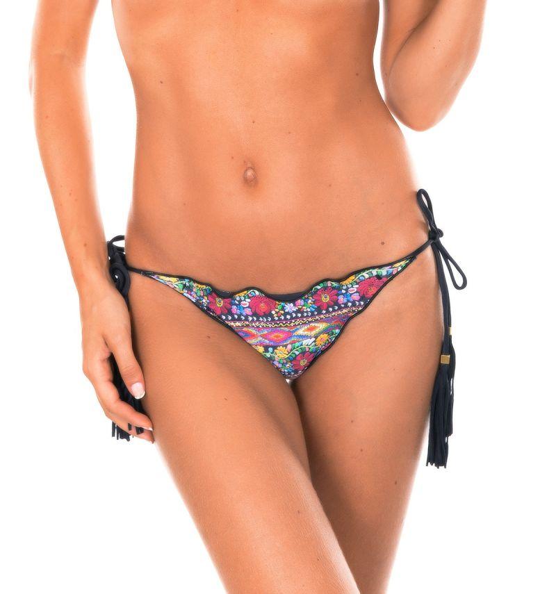Floral scrunch bikini bottom, black tassels - CALCINHA FOLK FRUFRU