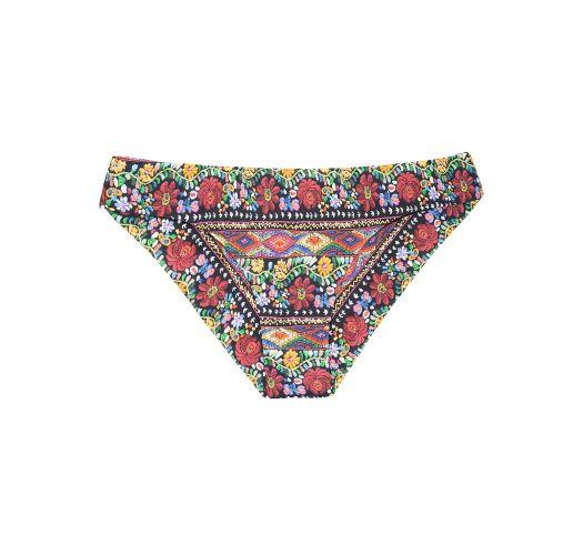 Цветные плавки-танга с присборкой с цветочным рисунком - CALCINHA FOLK SPORTY