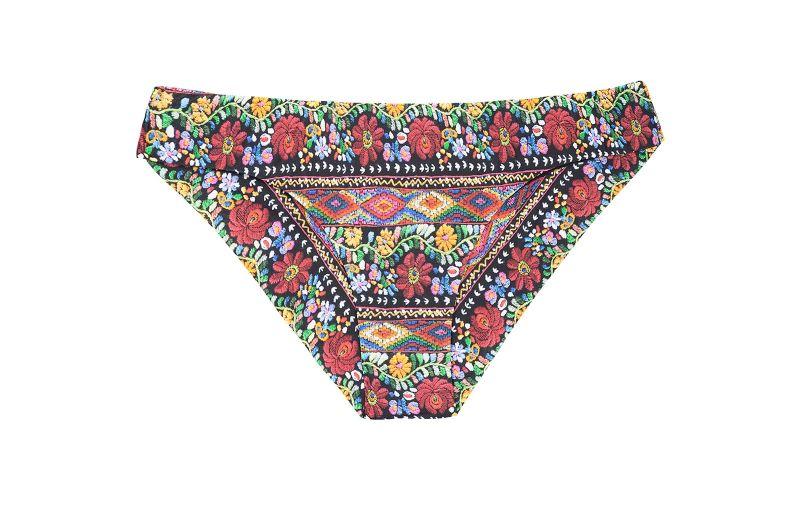 Scrunch tanga bikini bottom in a colourful floral print - CALCINHA FOLK SPORTY