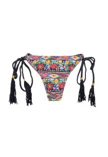 Bathing thong with tassels and floral print - CALCINHA FOLK STRAPPY MINI