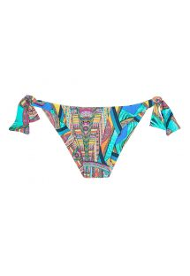 Multi-coloured print tie-side tanga bikini bottom - CALCINHA FRACTAL SUN