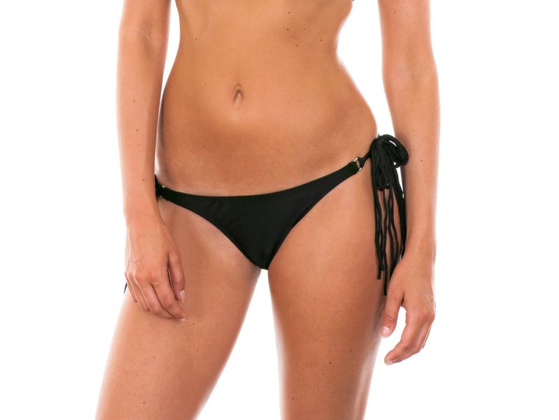 Black long fringe tie bikini bottom - CALCINHA FRANJA PRETO
