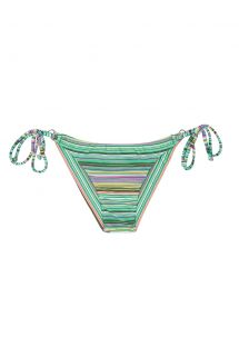 Green striped Brazilian bikini bottom with side ties - CALCINHA IEMANJA CHEEKY