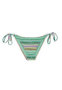 Плавки бикини в бразильском стиле на завязках в зелёную полоску - CALCINHA IEMANJA CHEEKY