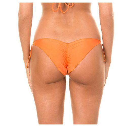 Mini tanga franzida laranja, rebordos ondulados - CALCINHA LULI ORANGE