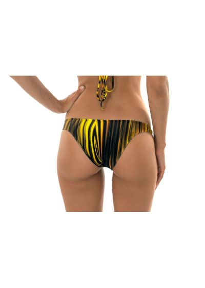 Yellow graphic print hipster cut bathing suit bottom - CALCINHA LUXOR CROPPED