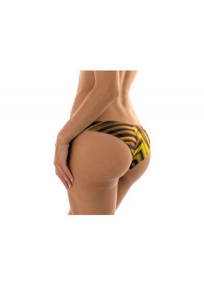 Yellow graphic print side-tie Brazilian bikini bottom - CALCINHA LUXOR NADADOR