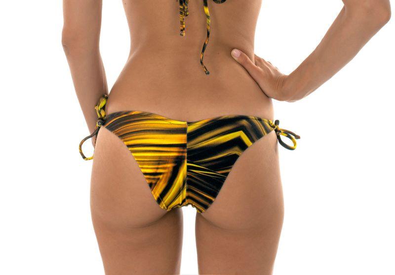 Yellow printed tie-side Brazilian bikini bottoms - CALCINHA LUXOR TRI DUO