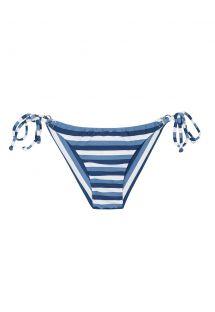サイドに紐が付いたブルー/ホワイトストライプのブラジリアンビキニボトム - CALCINHA MARESIA CHEEKY