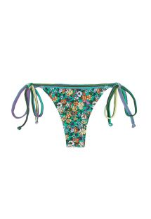 Green floral swimsuit thong with side ties - CALCINHA MARGARIDAS