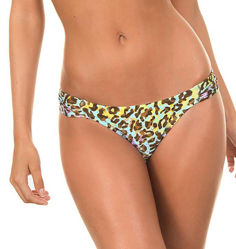 Colourful leopard-print fixed swimsuit tanga - CALCINHA MINEIRAO