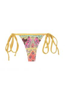 Swimsuit string printed scarf, gold-coloured ties - CALCINHA MUNDOMIX MICRO