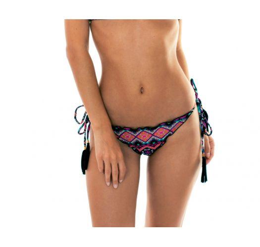 Pink scrunch ethnic bikini bottoms - CALCINHA NEW ETHNIC  FRU FRU