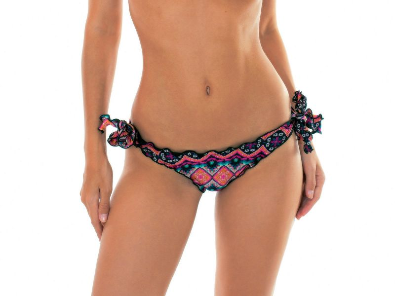 Ruched pink Brazilian bikini bottoms with ties - CALCINHA NEW ETHNIC PUSH UP